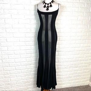 Caché black vertical stripe mermaid gown size 4
